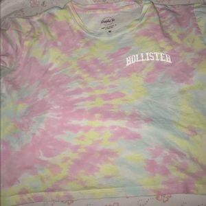 Tie dye colorful hollsiter crop top